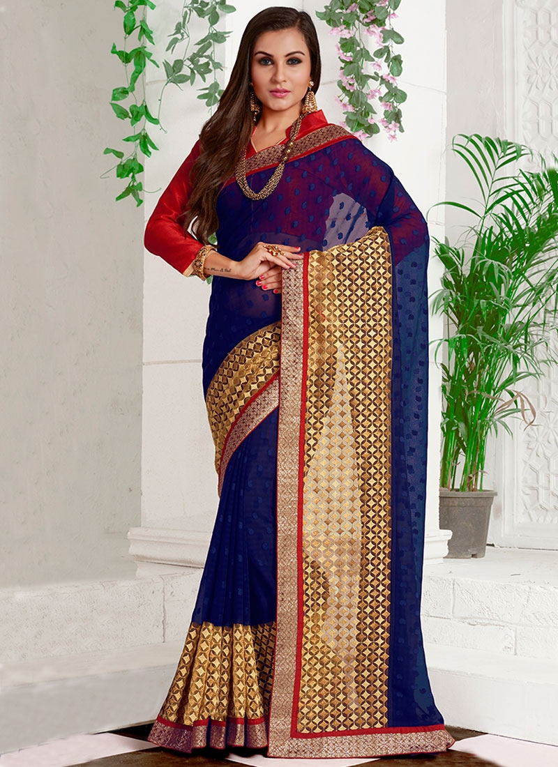 Eye-Catchy Navy Blue Color Party Wear Saree