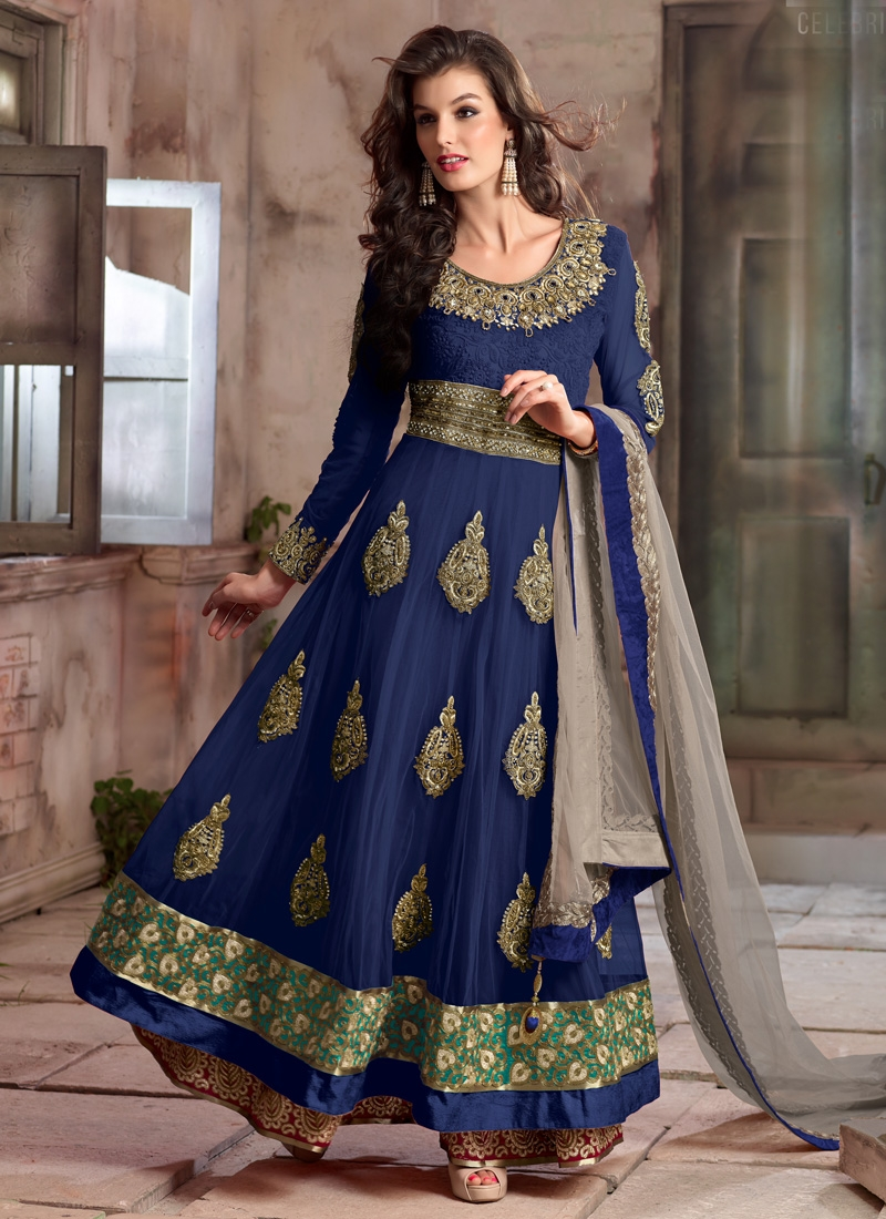 Eye-Catchy Navy Blue Color Stone Work Long Length Wedding Salwar Suit