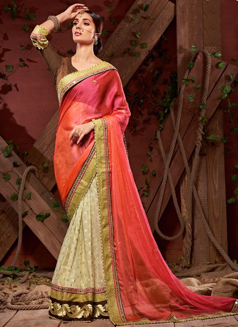 Eye-Catchy Patch Border And Mirror Work Half N Half Designer Saree