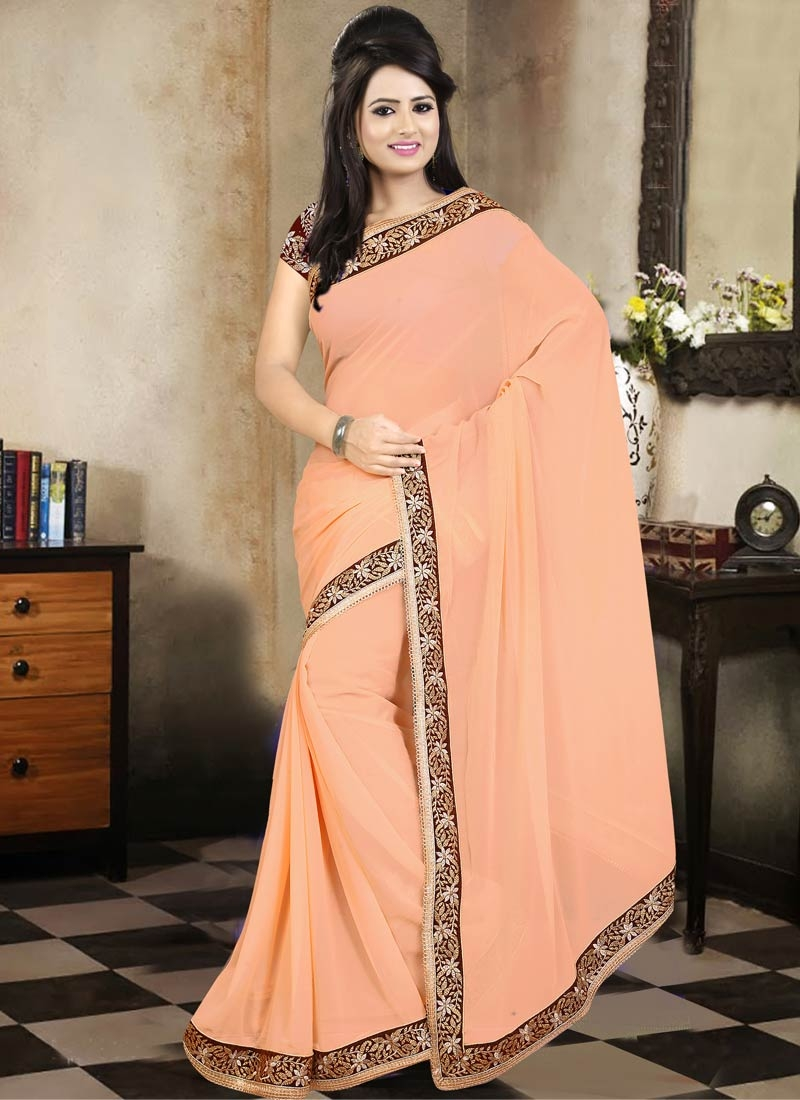 Eye-Catchy Peach Color Party Wear Saree