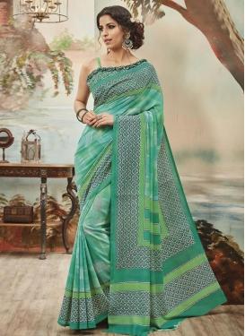 Eye-Catchy Print Work  Art Silk Contemporary Saree