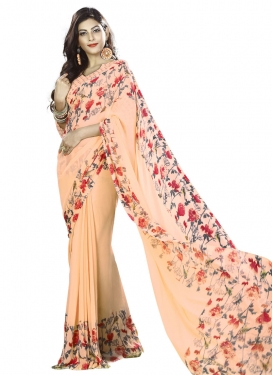 Eye-Catchy Print Work Faux Georgette Traditional Saree