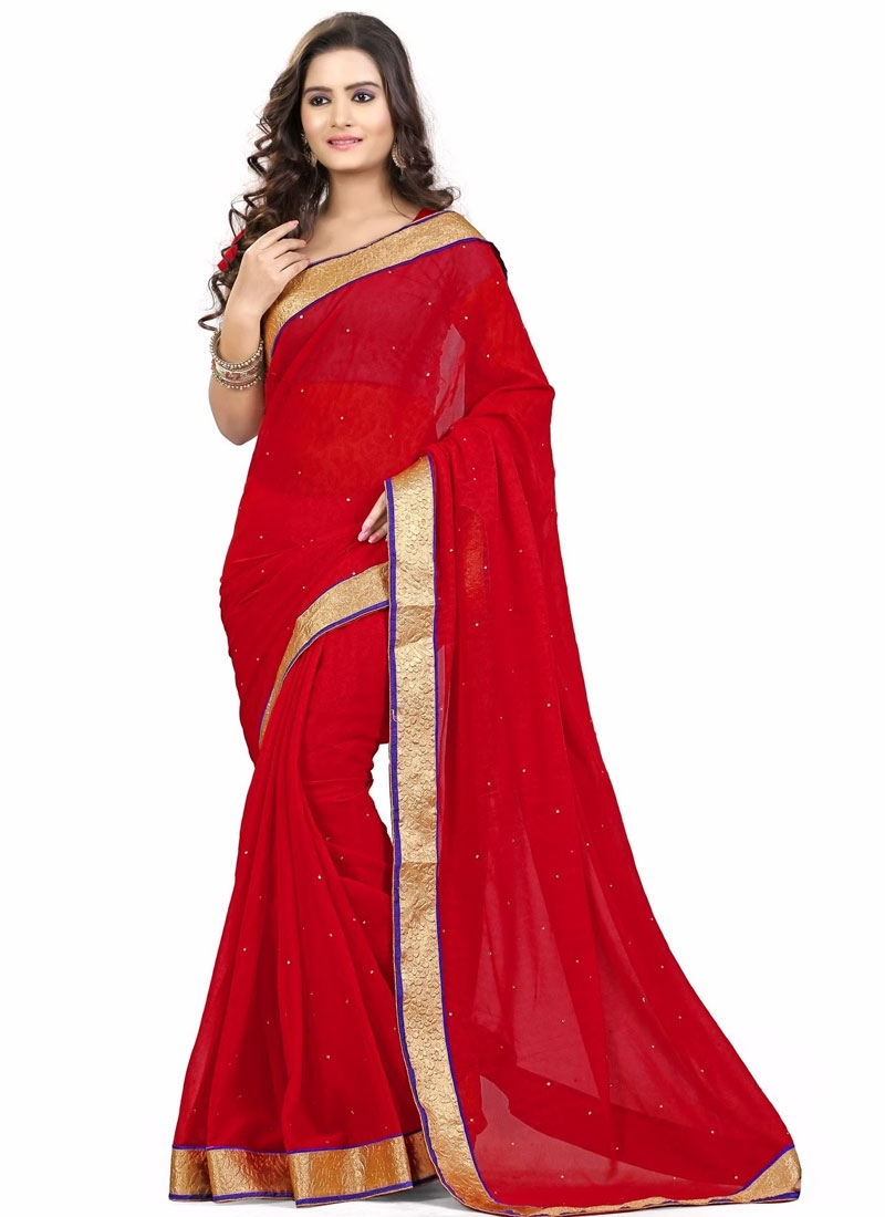 Eye-Catchy Red Color Stone Work Casual Saree