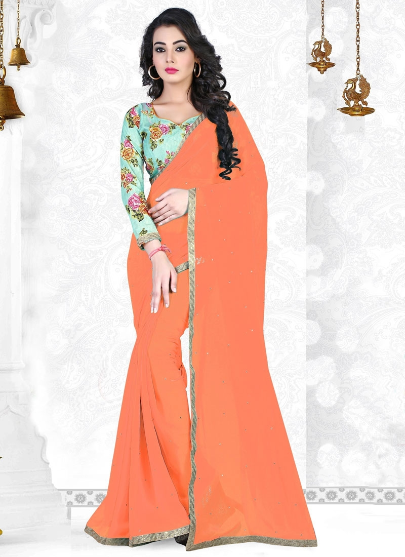 Eye-Catchy Resham And Stone Work Casual Saree