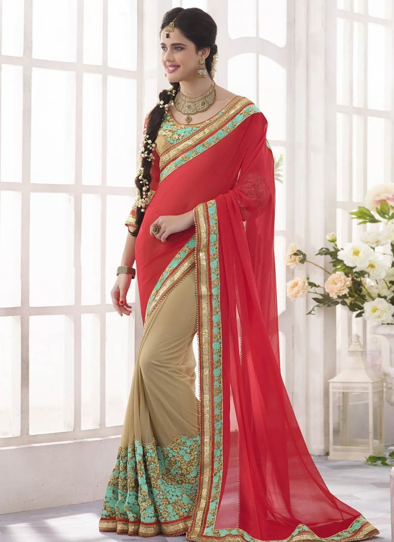Eye-Catchy Sequins And Resham Work Half N Half Wedding Saree