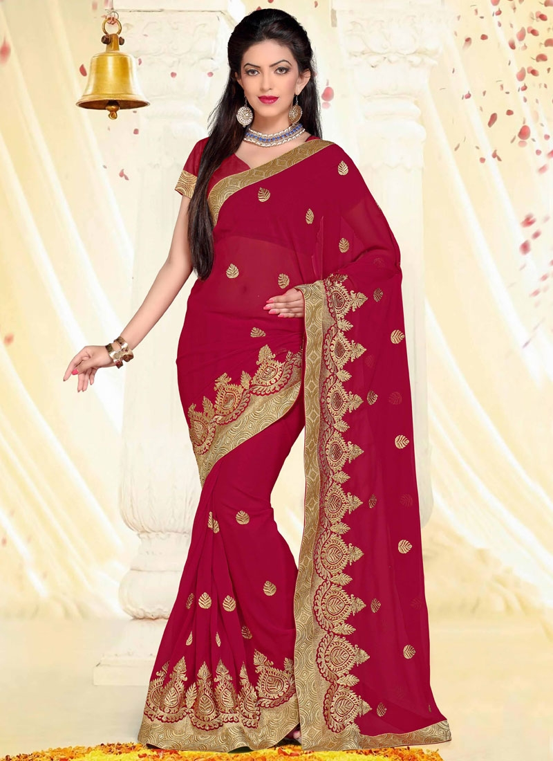 Eye-Catchy Stone And Resham Work Party Wear Saree