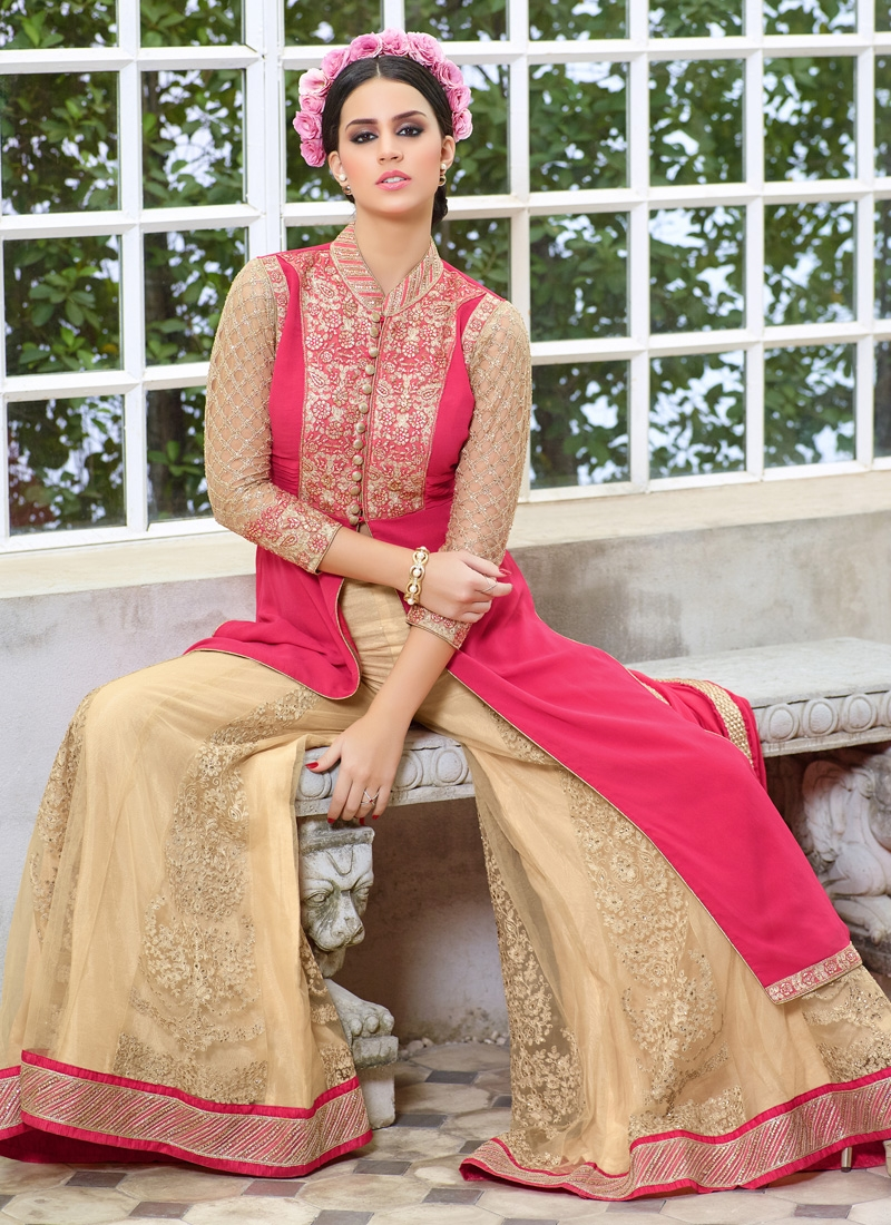 Eye-Catchy Stone Work Palazzo Style Designer Salwar Suit