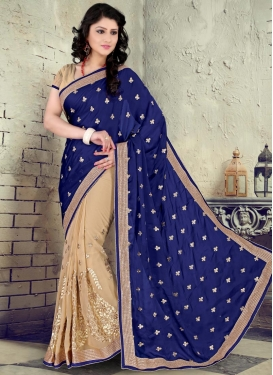 Fab Booti Work Faux Chiffon Beige Half N Half Designer Saree For Ceremonial