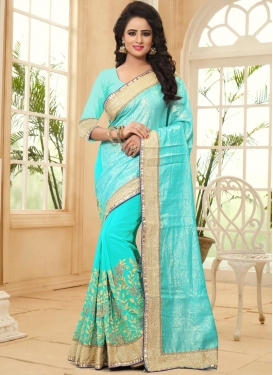 Fab  Embroidered Work Half N Half Designer Saree