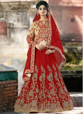 Fab Embroidered Work Net Designer A Line Lehenga Choli