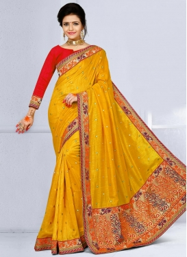 Fab Embroidered Work Trendy Classic Saree