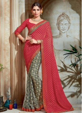 Fab Lace Work Grey and Red Half N Half Trendy Saree