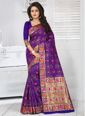 Fab  Resham Work Trendy Saree For Festival