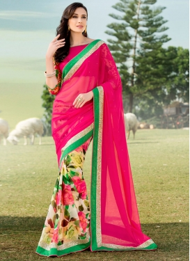 Fab Rose Pink Color Digital Print Work Half N Half Party Wear Saree