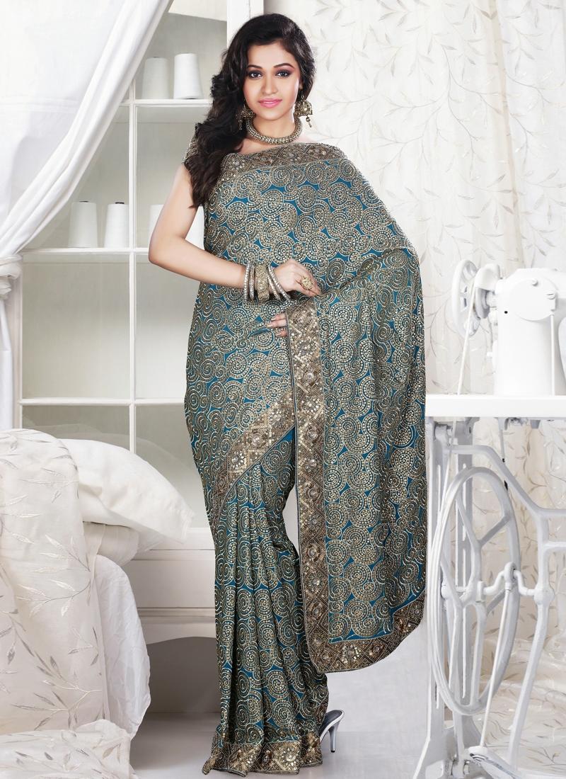 Fabulous Blue Color Designer Saree