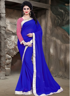 Fabulous Blue Color Lace Work Casual Saree