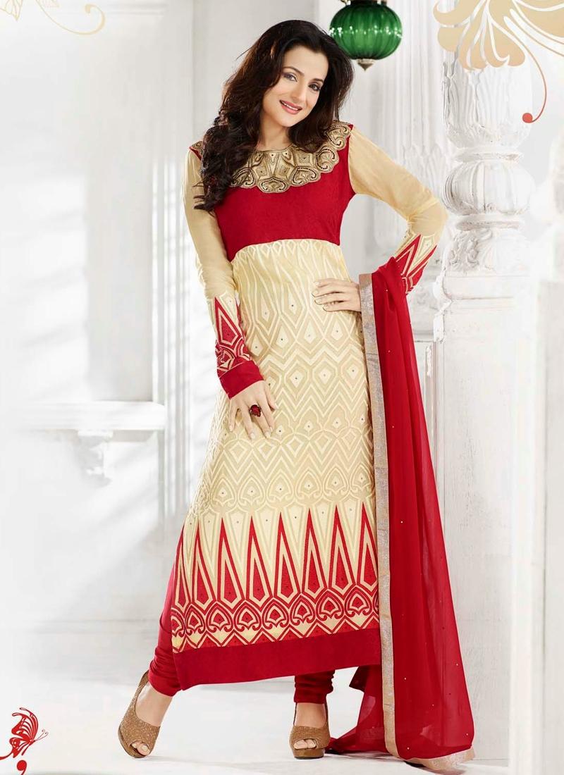 Fabulous Cream And Crimson Amisha Patel Bollywood Suit