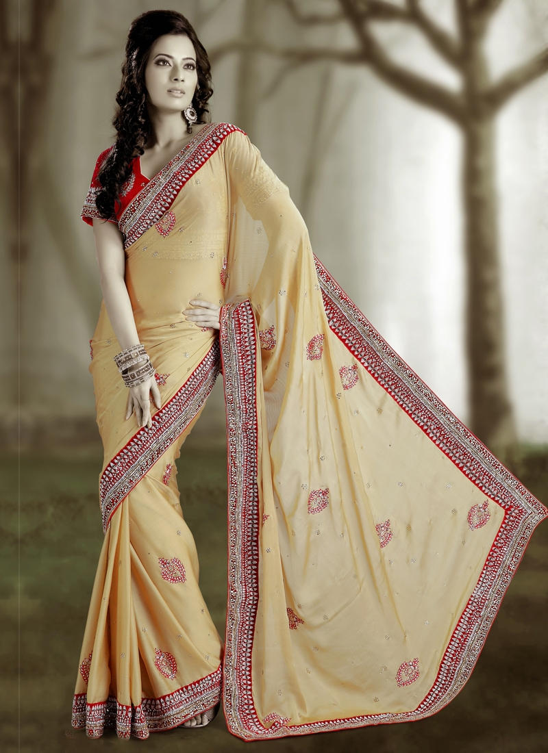 Fabulous Cutdana Work Satin Wedding Saree