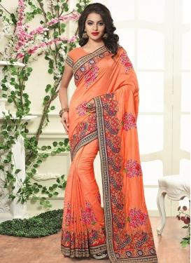 Fabulous Embroidered Work Silk Designer Contemporary Style Saree For Bridal