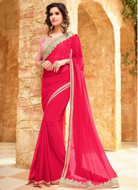 Fabulous Faux Georgette Embroidered Work Contemporary Style Saree