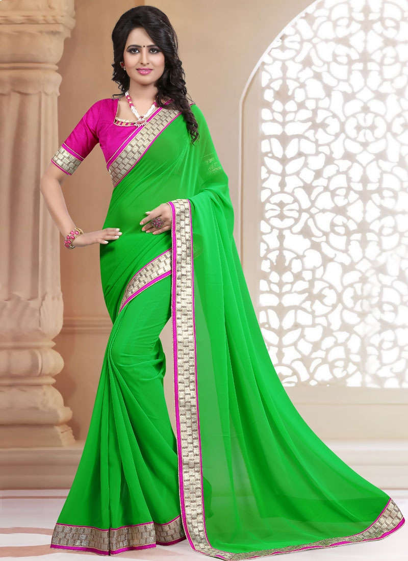 Fabulous Faux Georgette Resham Work Casual Saree
