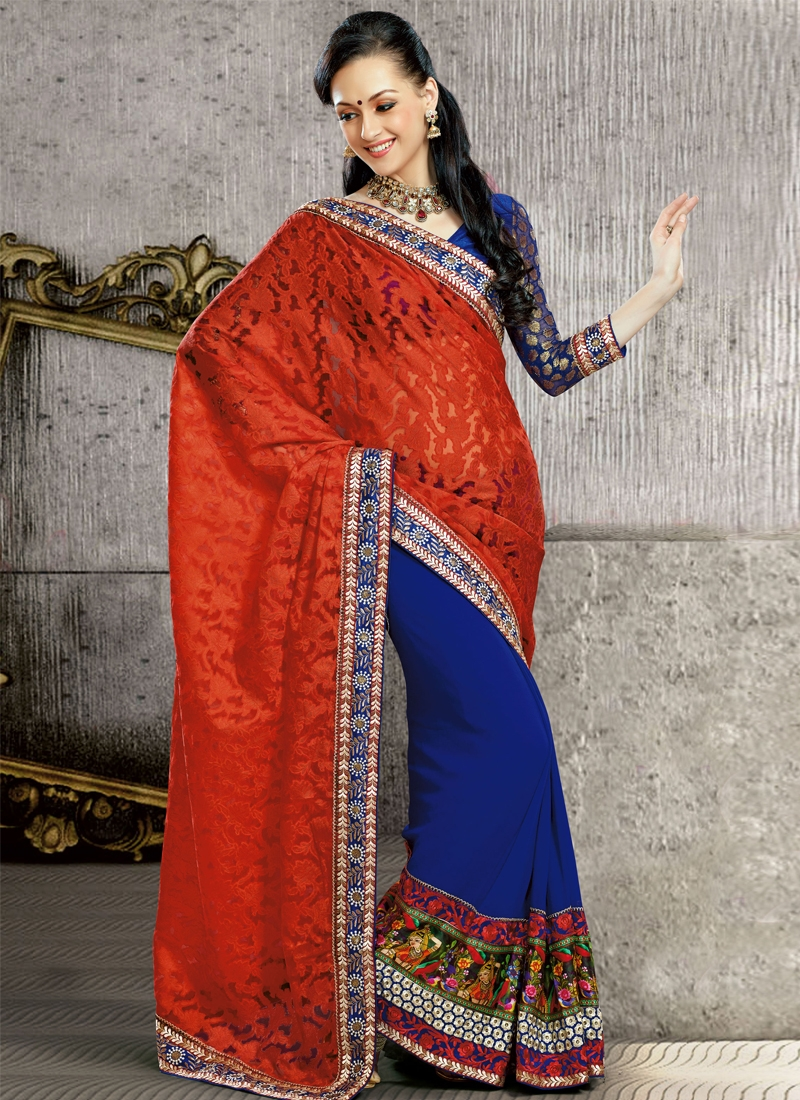 Fabulous Kasab Enhanced Half N Half Saree