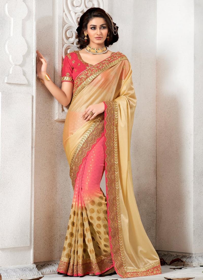 Fabulous Lace Work Jacquard Designer Saree