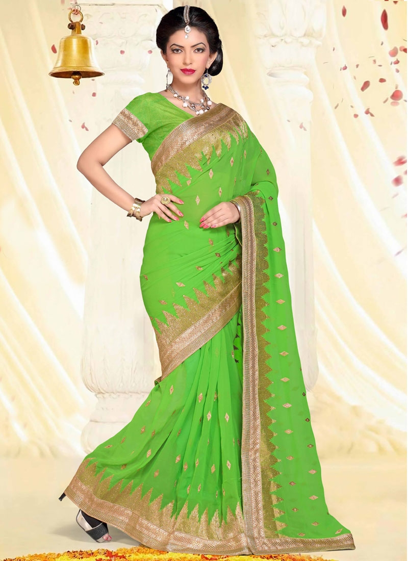 Fabulous Mint Green Color Faux Georgette Party Wear Saree