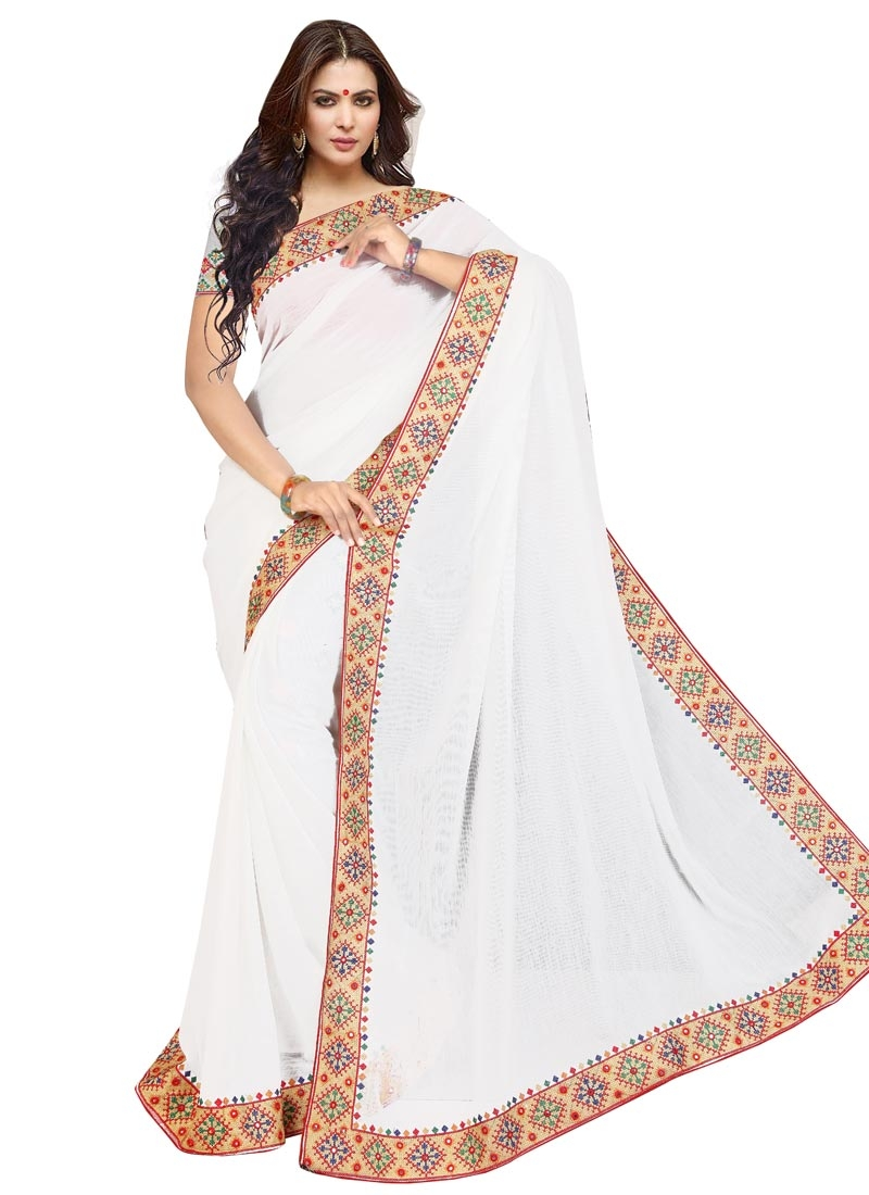 Fabulous Mirror Work White Color Party Wear Saree