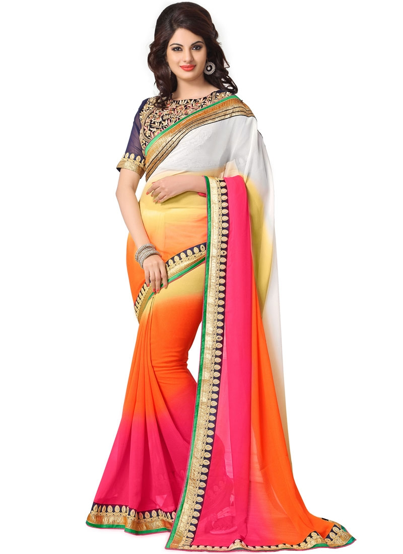Fabulous Multi Color Lace Work Party Wear Saree