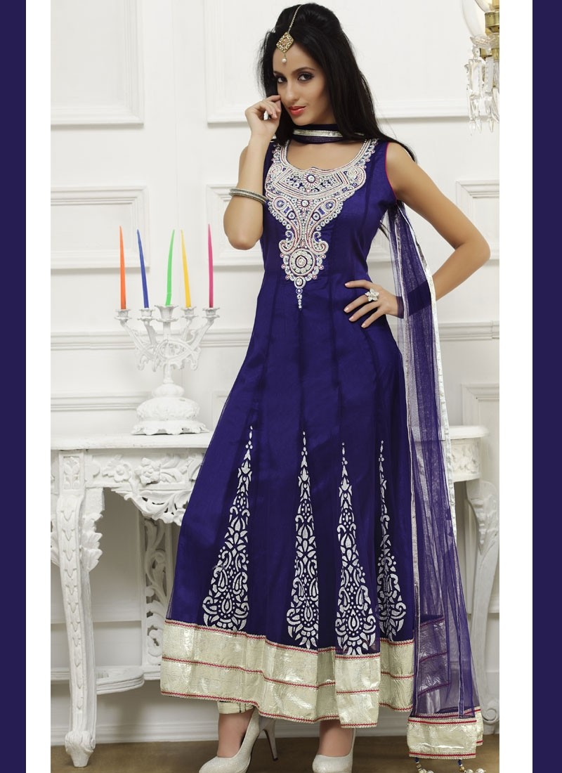 Fabulous Navy Blue Anarkali Readymade Salwar Suit