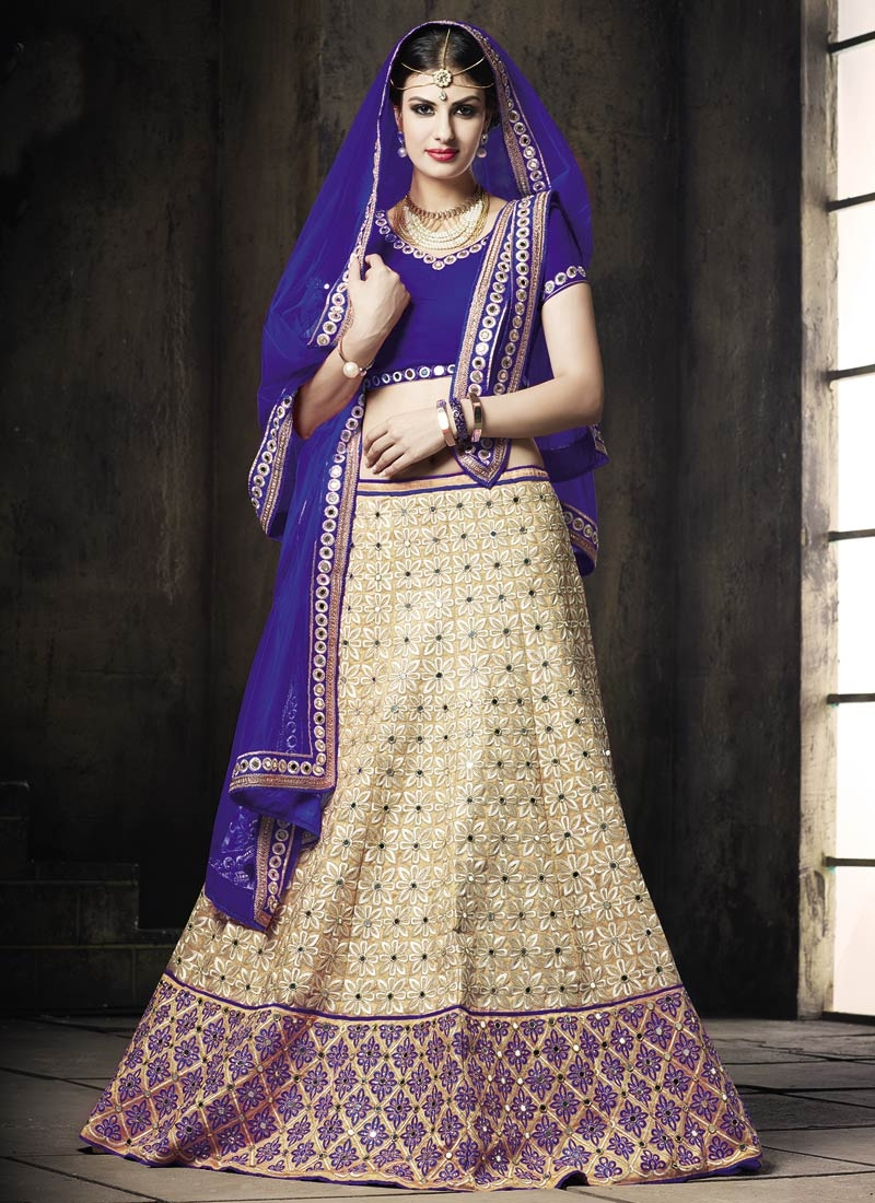 Fabulous Patch Border Work Blue Color Wedding Lehenga Choli