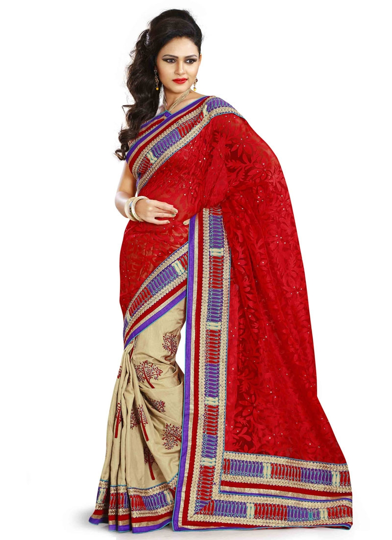 Fabulous Red And Beige Color Silk Half N Half Designer Saree