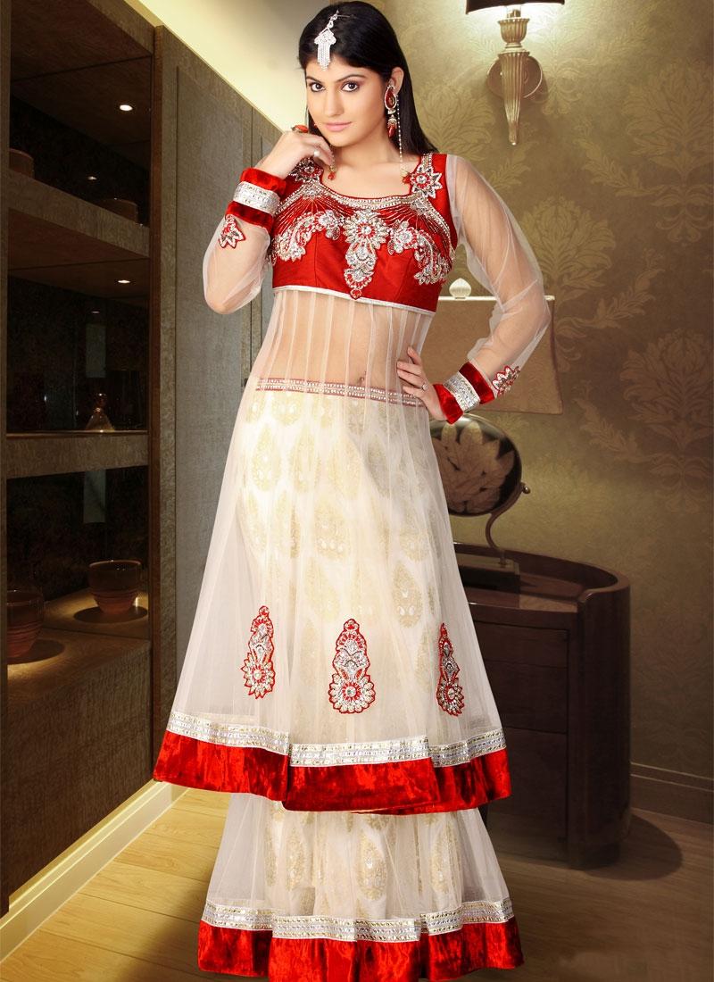 Fabulous Red And Cream Banarasi Silk Lehenga Choli