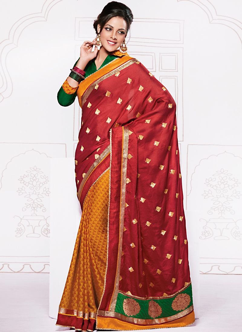 Fabulous Red And Orange Half N Half Saree