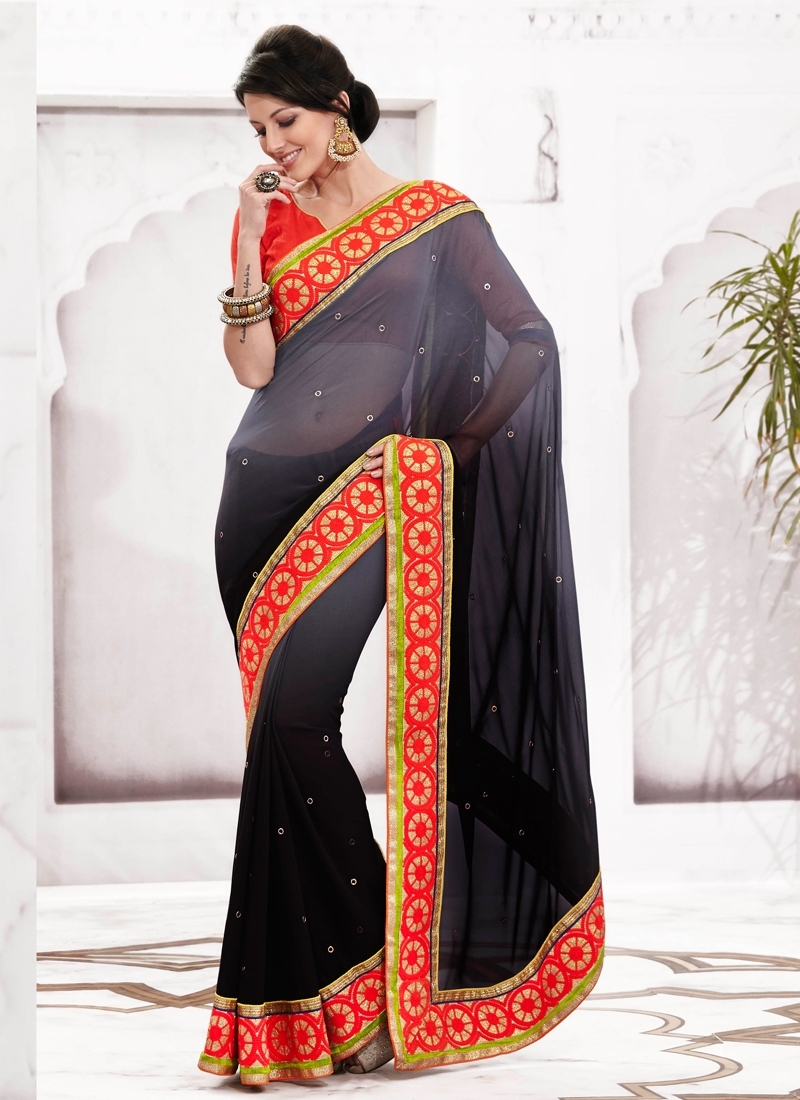 Fabulous Resham And Lace Work Party Wear Saree