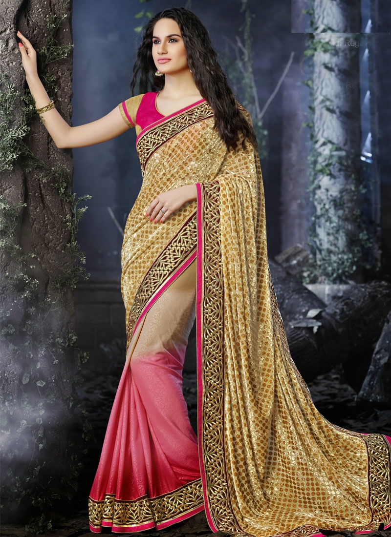 Fabulous Resham Work Polka Dotted Half N Half Wedding Saree