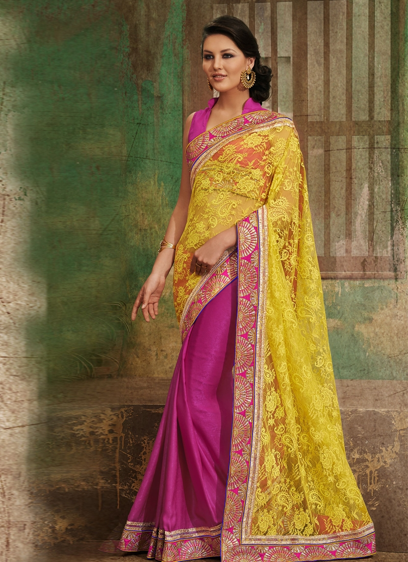 Fabulous Yellow And Magenta Half N Half Saree