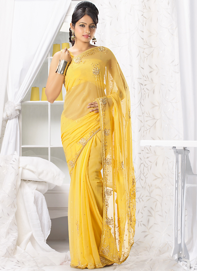 Fabulous Yellow Chiffon Fabric Saree