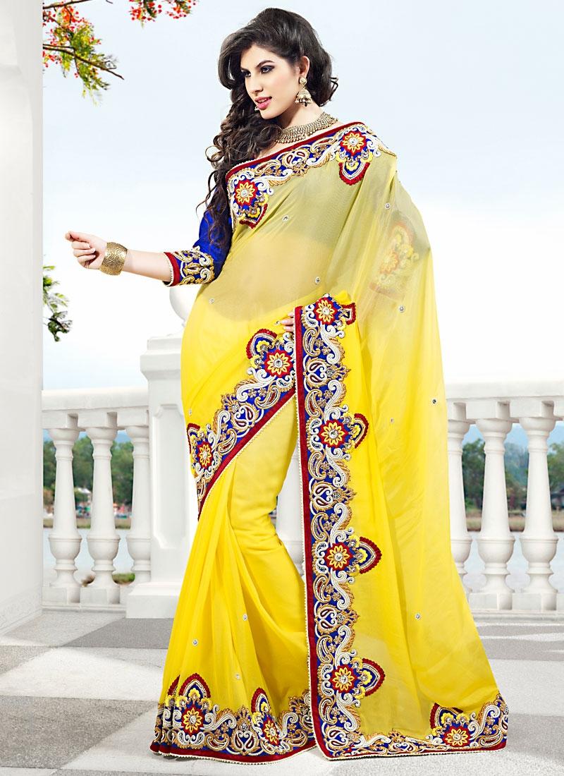 Fabulous Yellow Viscose Georgette Saree