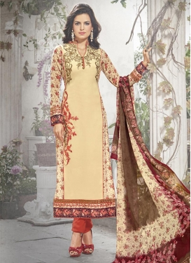 Fancier  Cream and Red Faux Georgette Embroidered Work Pakistani Salwar Kameez
