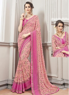 Fancier Digital Print Work Rose Pink and Salmon  Trendy Saree