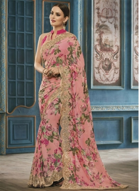 Fancier Embroidered Work Faux Georgette Traditional Saree For Ceremonial