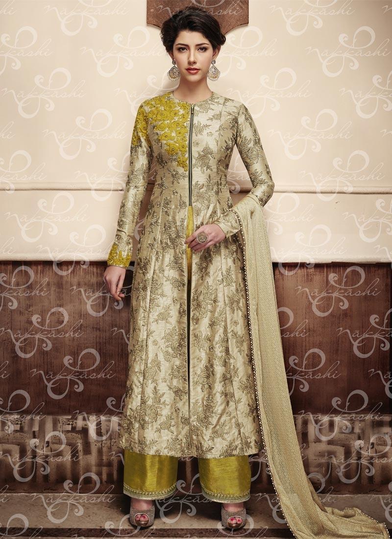 Fancier Silk Beige and Gold Aari Work Designer Palazzo Salwar Kameez