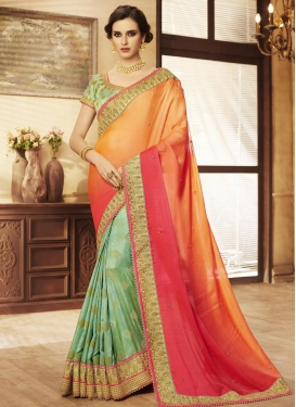 Fancy Fabric Beads Work Designer Half N Half Saree