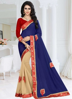 Fancy Fabric Beige and Navy Blue Lace Work Half N Half Trendy Saree