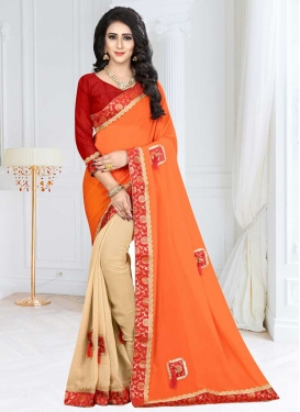 Fancy Fabric Beige and Orange Half N Half Saree For Festival