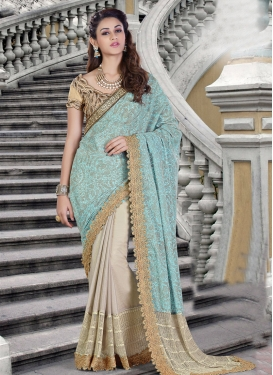 Fancy Fabric Beige and Turquoise Embroidered Work Half N Half Trendy Saree