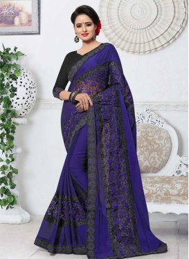 Fancy Fabric Black and Navy Blue Trendy Designer Saree For Ceremonial