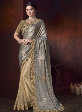 Fancy Fabric Cream and Grey Beads Work Half N Half Trendy Saree